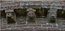 SO4430 : Kilpeck: The church of St. Mary and St. David: Eastern aspect corbel table carvings 1 by Michael Garlick