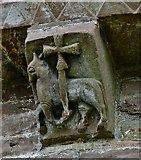 SO4430 : Kilpeck: The church of St. Mary and St. David: Eastern aspect corbel table carving 4 by Michael Garlick