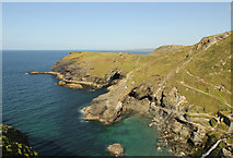 SX0589 : Tintagel Haven by Richard Croft