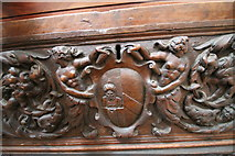 SK9239 : Carvings on chest, Ss Peter & Paul church, Belton by J.Hannan-Briggs