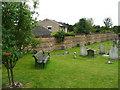 TQ5558 : Crinkle-crankle churchyard wall, Kemsing by Humphrey Bolton