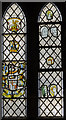 SK9341 : Medieval stained glass, St Nicholas' church, Barkston by Julian P Guffogg