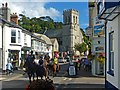 SY2289 : Horse riders, Fore Street, Beer, Devon by Robin Drayton