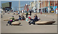 SD3035 : Giant pebbles as seats, Blackpool seafront by Robin Stott