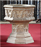 TL6153 : St Mary, Weston Colville - Font by John Salmon