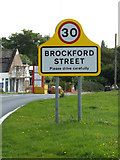 TM1167 : Brockford Street Village Name sign by Adrian Cable