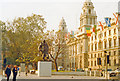 TQ3079 : London (Westminster), 1988: Parliament Square, HM Treasury and Churchill statue by Ben Brooksbank