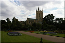 TL8564 : Bury St Edmunds: the Cathedral from Abbey Gardens by Christopher Hilton