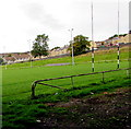 SO2508 : Rugby posts, Recreation Ground grandstand, Blaenavon by Jaggery
