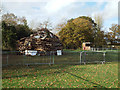 SP0776 : The bonfire is ready for tonight, Wythall Park, Silver Street, Wythall by Robin Stott