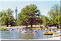 TQ2782 : Regents Park, 1989: Boating Lake and Mosque by Ben Brooksbank