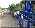ST6178 : Royal blue box and railings at the edge of Filton Abbey Wood railway station by Jaggery