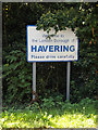 TQ5691 : Havering Town sign on Nag's Head Lane by Adrian Cable