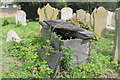 SP9212 : A Broken Altar Tomb in the New Mill Baptist Graveyard by Chris Reynolds