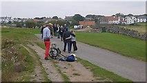 NU1341 : One man band, Holy Island by Richard Webb