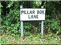 TQ5755 : Vintage street nameplate, Pillar Box Lane, Seal Chart by Chris Whippet