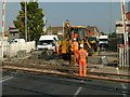 SK5879 : Repairing the level crossing at Worksop by Alan Murray-Rust