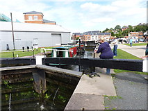 SO8453 : Narrowboat in Diglis Top Lock, Worcester by Jeff Gogarty