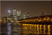 TQ3680 : Apartments along the South Bank of The River Thames at Night by Christine Matthews