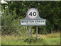TM1761 : Winston Green Village Name sign on Debenham Road by Adrian Cable