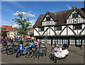 SO8318 : Black & White Building with Bikes by Des Blenkinsopp