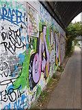TQ2182 : Graffiti on a railway bridge abutment over the Paddington Branch of the Grand Union Canal at Harlesden by Rod Allday