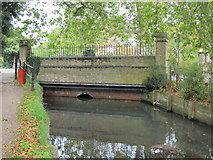TQ3296 : Bridge over the New River (old course) at Church Street (A110), EN2 by Mike Quinn