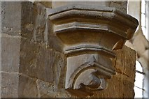 SP9599 : Wakerley: St. John the Baptist church: South chapel arch corbel by Michael Garlick
