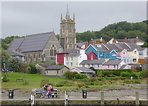 SN4562 : Housing and church in Aberaeron, Ceredigion by Roger  Kidd