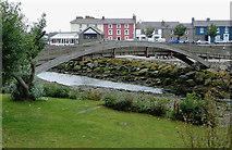 SN4562 : River and footbridge at Aberaeron, Ceredigion by Roger  Kidd