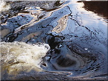 SX7489 : Water flowing over Fingle Mill Head weir by Rod Allday