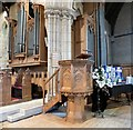 SH7882 : Holy Trinity organ and pulpit by Gerald England