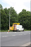 NY3853 : Lamppost maintenance on Dalston Road by Roger Templeman