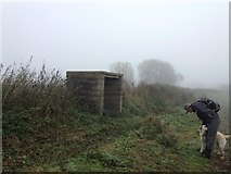 SK7353 : Shelter by a footpath at Southwell racecourse by Graham Hogg