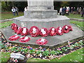 TQ4470 : Wreaths on Chislehurst War Memorial on Remembrance Sunday 2015 by Marathon