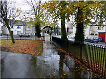 H4573 : Wet path and fallen leaves, Omagh by Kenneth  Allen