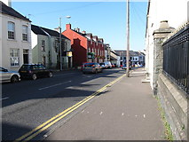 J3652 : View north along Church Street from the steps leading to St Patrick's Catholic Church by Eric Jones