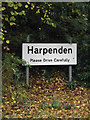 TL1312 : Harpenden Town sign on the A1081 St.Albans Road by Adrian Cable