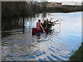 TQ1180 : Firewood collected in Canadian canoe - in Southall by David Hawgood