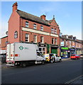 SJ4913 : Vans parked outside the Rock & Fountain, Shrewsbury by Jaggery
