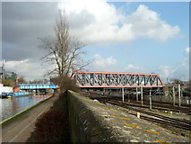 TQ2282 : Railway over canal and railway by Robin Webster
