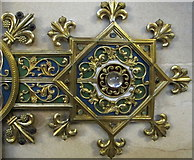 ST5071 : Metalwork decoration of memorial cross, Tyntesfield chapel by David Hawgood