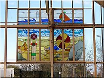 NZ3472 : Stained glass (east), Monkseaton Metro Station by Andrew Curtis