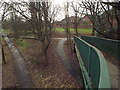 SP3477 : Footbridge ramp and footpaths west of the London Road, Cheylesmore, Coventry by Robin Stott
