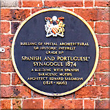 SJ8499 : Blue Plaque, Spanish and Portuguese Synagogue by David Dixon