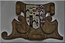 TM1273 : Yaxley; St. Mary the Virgin Church: Tudor wooden armorial mounted on south aisle wall 2 by Michael Garlick