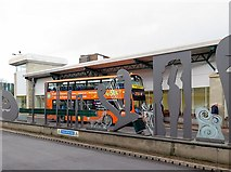 NZ2563 : 'Opening Line', Gateshead Interchange Bus Station by Andrew Curtis