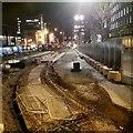 SJ8398 : Tram lines construction site by Steve  Fareham