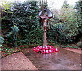 SJ8004 : Albrighton War Memorial and poppy wreaths by Jaggery