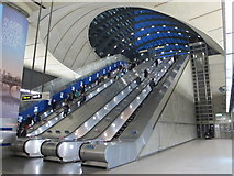 TQ3780 : Canary Wharf tube station, Jubilee Line - west entrance escalators by Mike Quinn